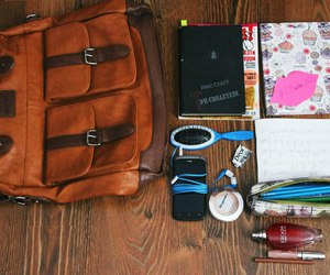 backpack, comb, and pencil case image