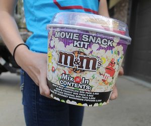 food, m&m's, and popcorn image