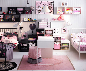 bed room, pink, and room inspiration image