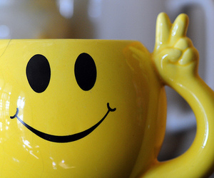smile, yellow, and cup image