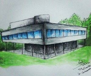 architecture, le corbusier villa savoye, and watercolor my drawing image