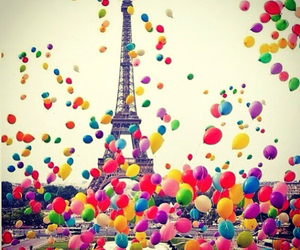 ballons, colorful, and eiffel tower image