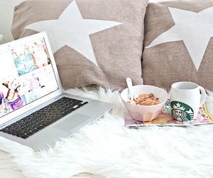 starbucks, laptop, and breakfast image