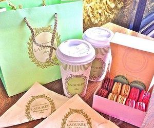 macarons, coffee, and laduree image