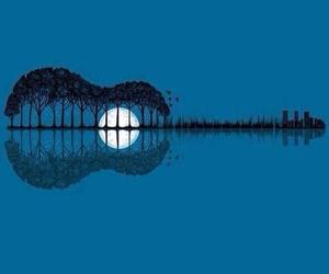 guitar, moon, and art image