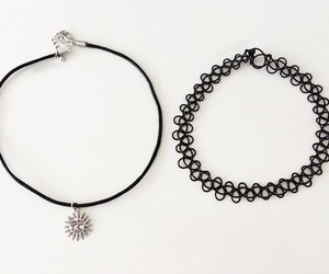grunge, necklace, and black image