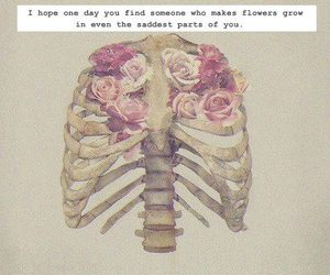bones, flowers, and grunge image