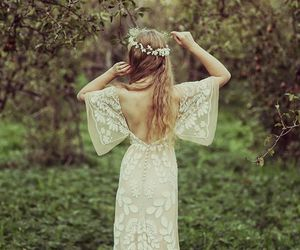 blonde, white dress, and flower crown image