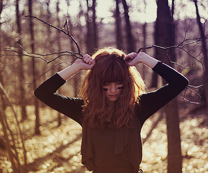 girl, forest, and photography image