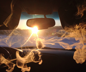 smoke, car, and sun image