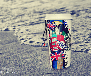 london, starbucks, and beach image