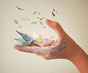 bird, boat, and hand image