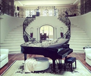 dream room, piano, and stairs image