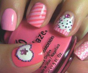 nails, pink, and cupcake image