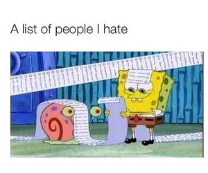funny, spongebob, and hate image