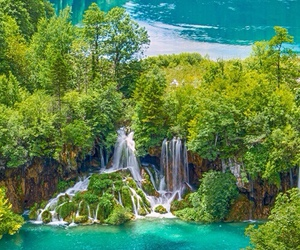 waterfall, blue, and green image