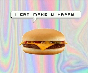 food, happy, and hamburger image