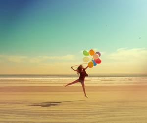 balloons, beach, and girl image