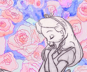 alice in wonderland, drawing, and roses image