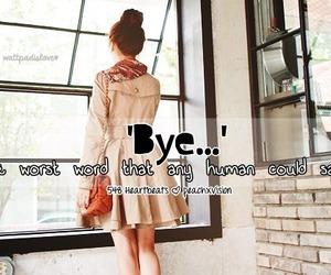 bye, human, and word image