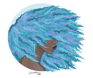 Afro, blue hair, and dyed hair image