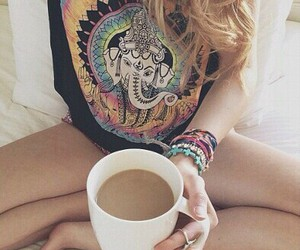 bed, colorful, and elephant image