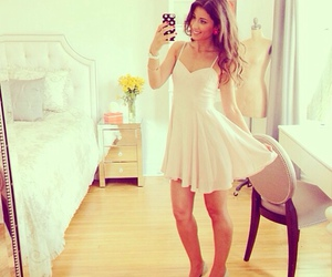 bedroom, white dress, and brunette image