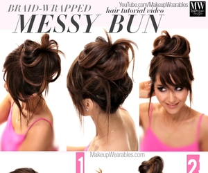 bun, messy bun, and hair image