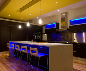 kitchen, pendant lights, and mediterranean kitchen image