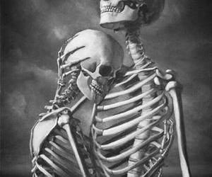 love, skeleton, and black image