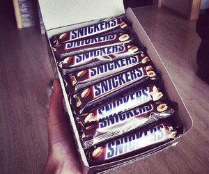 chocolate, snickers, and food image