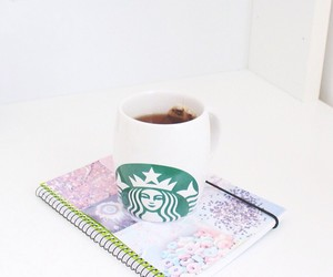 starbucks, girl, and notebook image