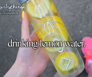 just girly things, lemon, and water image
