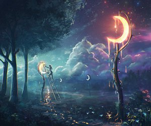 moon, night, and art image