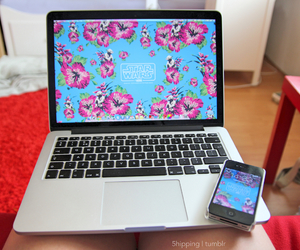 laptop, flowers, and apple image