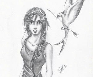 art, drawings, and katniss everdeen image