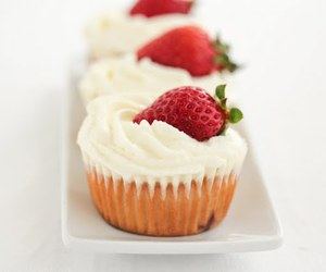 cream, cupcakes, and strawberry image