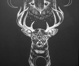 art, draw, and deer image
