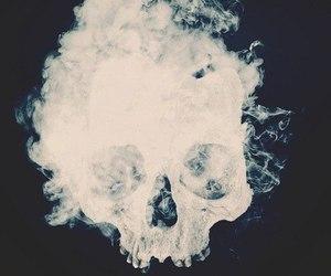 skull, smoke, and black image