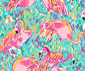 flamingos, lilly pulitzer, and pink image