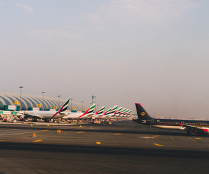 abu dhabi, airport, and emirates image