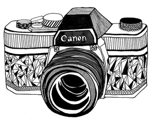 black and white, camera, and drawing image