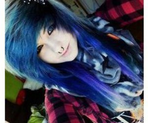 blue hair, bow, and emo hair image