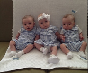 awww, triplets, and cute image