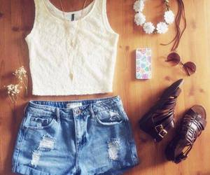 outfit, shorts, and flowers image