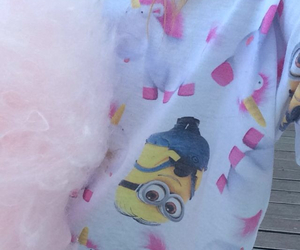 cotton candy, girl, and minion image