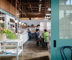 blue, interior design, and cafe image