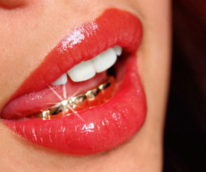 lips, gold, and red image