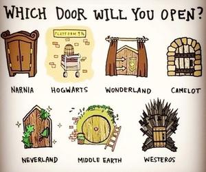 narnia, hogwarts, and wonderland image