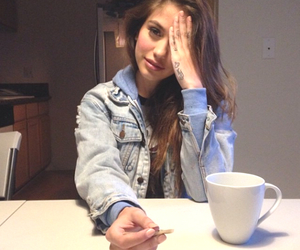 brown hair, green tea, and jeans jacket image